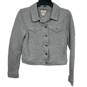 Levi's Grey Quilted Cropped Bomber Jacket